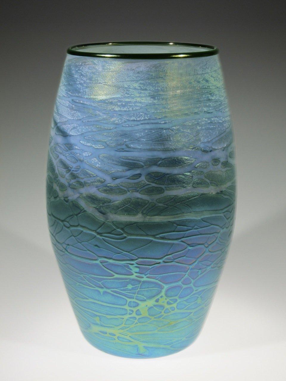 Blue Green Cylinder By Tom Stoenner Art Glass Vase