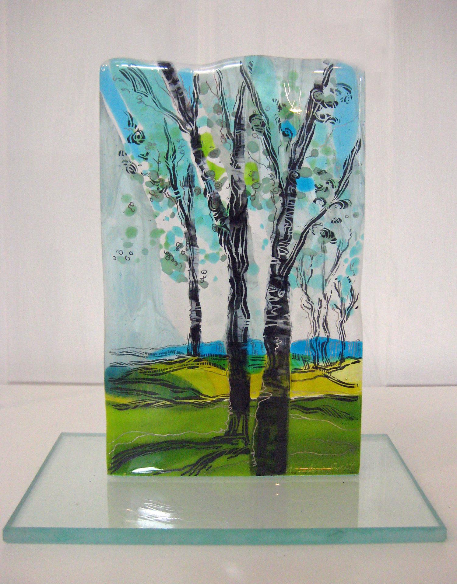 Aqua Landscape By Alice Benvie Gebhart Art Glass