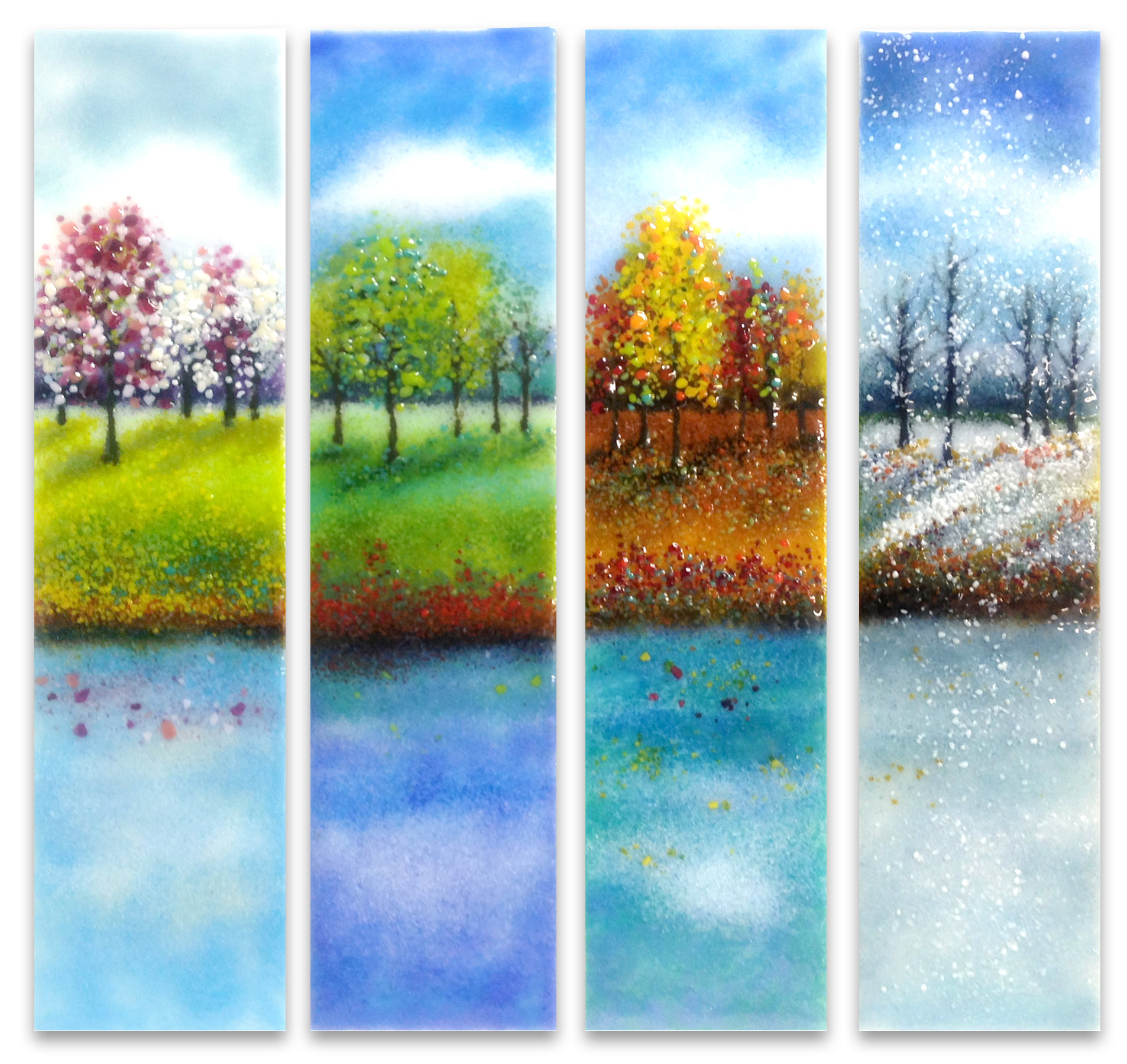 Four seasons glass wall art by anne nye art glass wall for Large glass walls