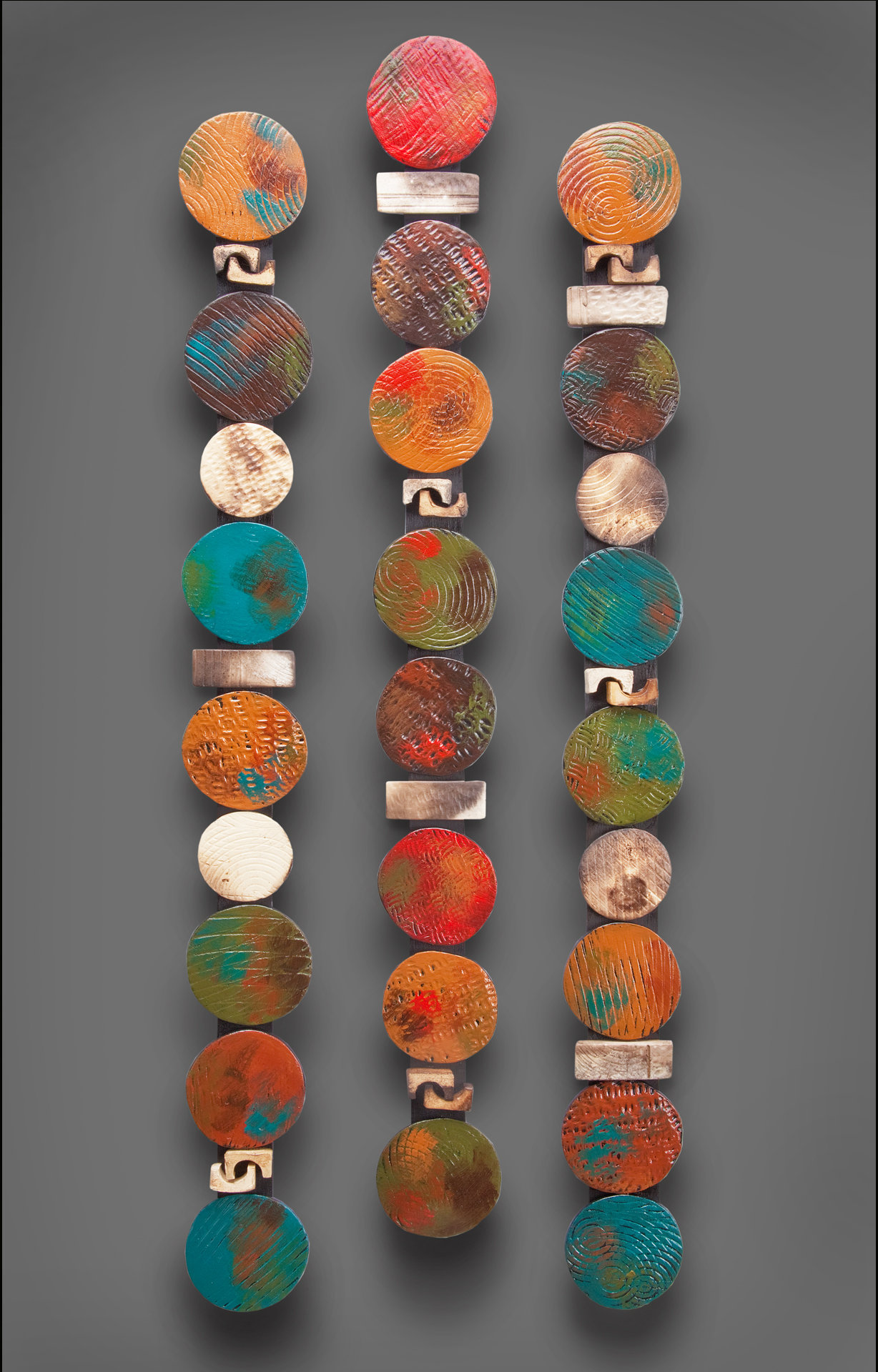 Circle Stick In Teals And Red By Rhonda Cearlock Ceramic