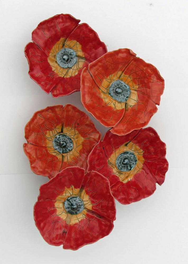 Poppy field by amy meya ceramic wall art artful home for Ceramic wall art