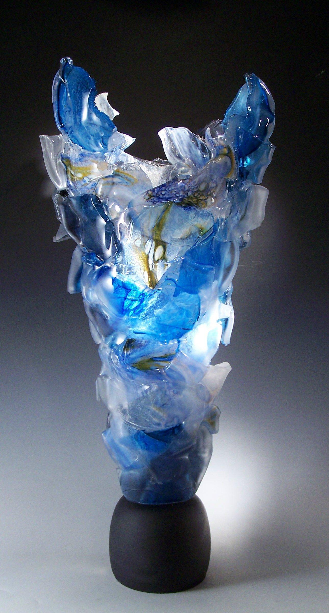 Blue Monument By Caleb Nichols Art Glass Sculpture
