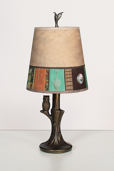 bronze owl lamp with small drum shade in linen match by. Black Bedroom Furniture Sets. Home Design Ideas