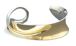 """Petite Overlay Cuff"" silver & gold bracelet by Nancy Linkin"