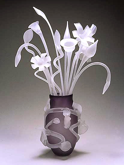 """Leaf Vase with Etched Bouquet"""