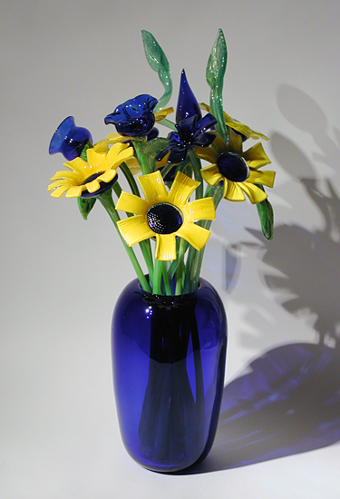 """Cobalt Vase with Sunflowers"""
