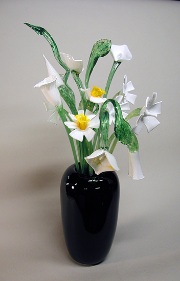 """Black Vase with White Flowers"""