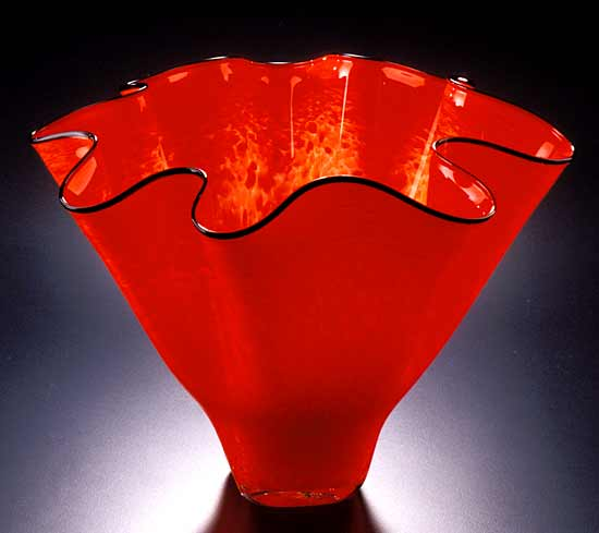 Shell Bowl Form (Mottled Firecracker Red)