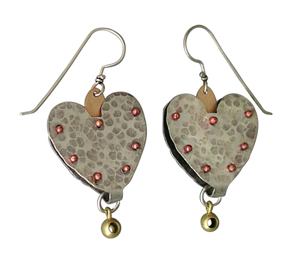 Heart Rivet Earrings: Thomas Mann: Metal Earrings - Artful Home :  shopping sterling silver metal designer accessory