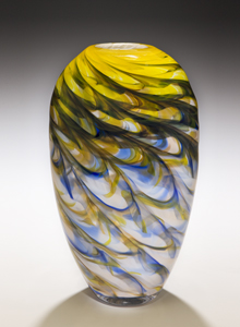 Yellow Optic Vase: Mark Rosenbaum: Art Glass Vase - The Artful Home :  blown glass glass glass artists fine craft