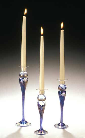 Blue Trio Candlesticks