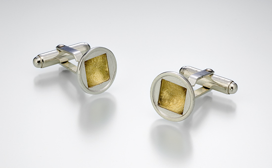 Circle Square Stud Cuff Links
