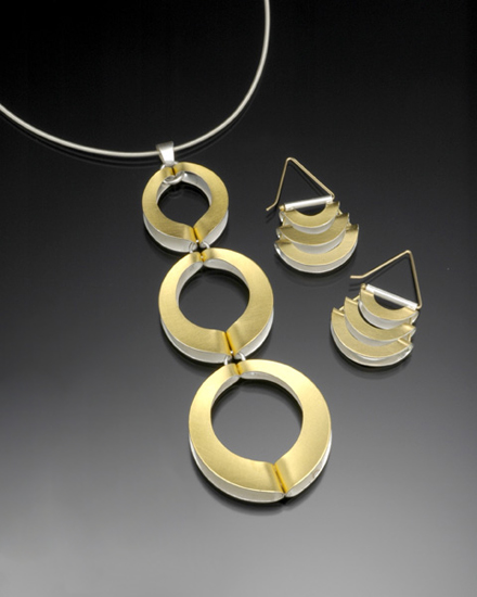 Mod Circles Pendant and Earrings