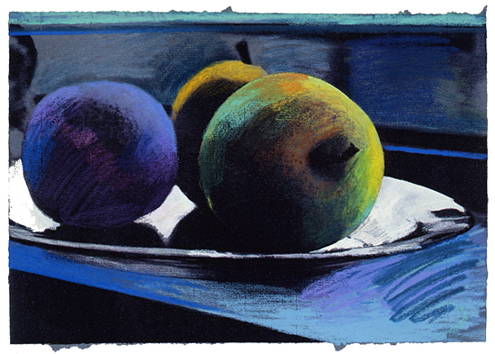 Three Apples Blue