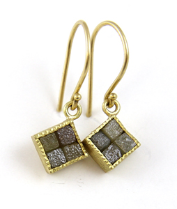 4-Square Raw Diamond Earrings: Todd Reed: Gold & Stone Earrings - The Artful Home :  design art style earring
