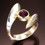 Bi-Pass Ring with Amethyst by Lisa Slovis (Silver Ring)