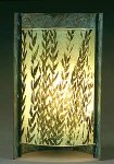 Curved Green Grasses by Joan Bazaz (Glass & Copper Lamp)