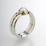 Double Band by Linda Smith (Silver & Pearl Ring)