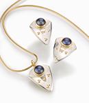 Blue Pearl Earrings by Linda Smith (Silver, Gold & Pearl Earrings)