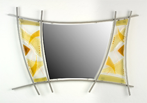 Geometrics - Amber: Richard Altman: Glass & Metal Mirror - Artful Home