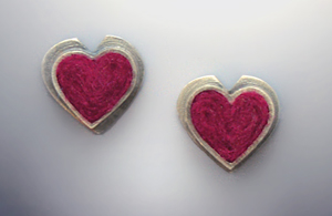 Heart Earrings on Posts Michele A Friedman Silver Wool Earrings Artful Home from artfulhome.com