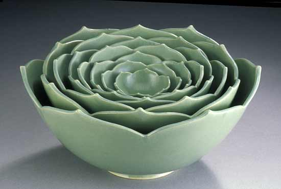 Eight Nesting Lotus Bowls By Whitney Smith Ceramic