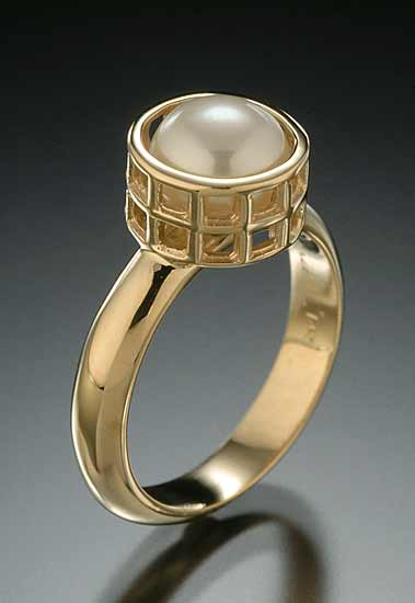 Gold Caged Pearl Ring