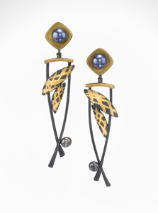 Daylilies: Judith Neugebauer: Gold, Silver & Pearl Earrings - Artful Home :  lily daylilies earrings lilies