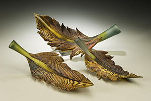 Arbor Group: Danielle Blade and Stephen Gartner: Art Glass Sculpture - Artful Home :  art handmade glass leaf