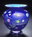 Cobalt Blossom Vase by Ken Hanson and Ingrid Hanson (Art Glass Vase)