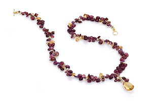 Garnet Delight Necklace: Kathleen Lynagh: Gold & Gemstone Necklace - The Artful Home :  shopping necklace gemstone citrine