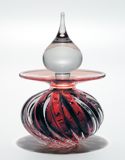 Twisted Square Rib Perfume Bottle: Copper Ruby
