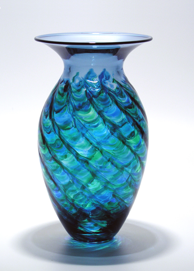Optic Ribbed Vortex Vase: Ocean