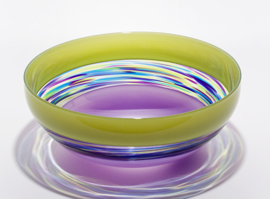 Banded Vortex Bowl: Lime, Cool Lime & Dark Violet