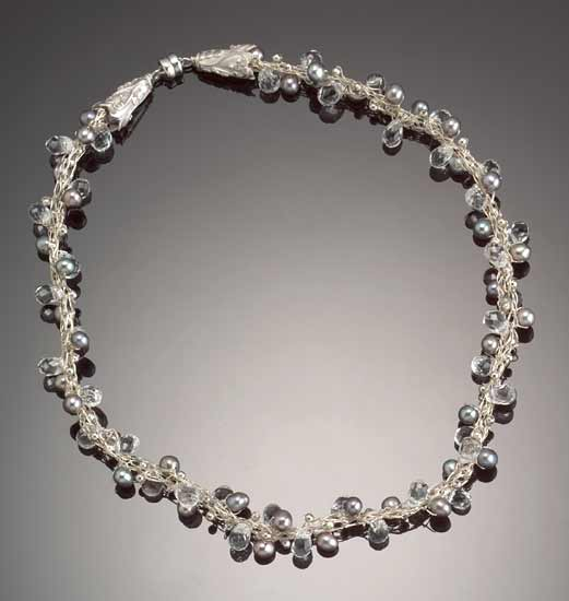 Crescendo Crystal Necklace: Silver Pearls