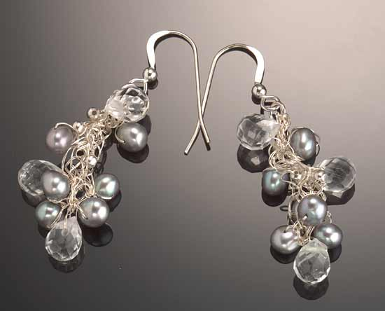 """Crescendo Crystal Earrings: Silver Pearls"""
