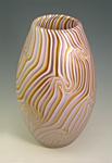 Ecru Lavender Olive Smoke Vase by Rene Culler (Art Glass Vessel)