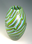Turquoise Spring Green Olive by Rene Culler (Art Glass Vessel)