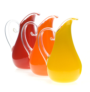 Opaque Curly Pitchers: Cal Breed: Art Glass Pitchers - The Artful Home :  collector pitchers gallery paintings
