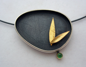 Leaf Egg Necklace: Janice  P. Ho: Gold, Silver, & Stone Necklace - The Artful Home