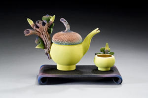 Pin Acorn Tea: Nancy Y. Adams: Ceramic Tea Set - The Artful Home :  hand carved tea pot cup ceramic