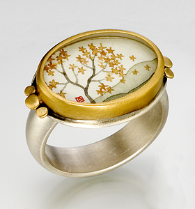 Oval Autumn Maple Ring: Ananda Khalsa: Silver Ring - Artful Home