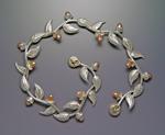 Multi-Leaf Bracelet with Pearls by Ellen Vontillius (Silver & Pearl Bracelet)