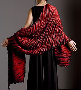 Red Pleated: Britt Rynearson: Silk Shawl - Artful Home
