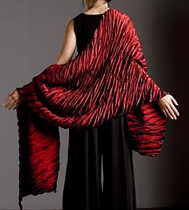 Red Pleated: Britt Rynearson: Silk Shawl - Artful Home