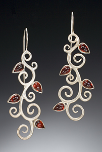 Persian Vine Earrings with Garnets: Natasha Wozniak: Silver & Garnet Earrings - Artful Home :  garnets persian earrings vine