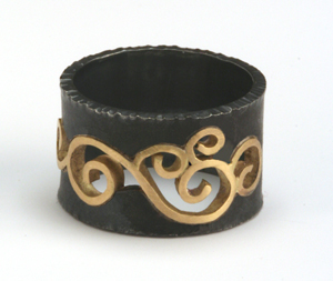 Wrought Inlay Ring: Natasha Wozniak: Silver & Gold Ring - The Artful Home :  designer accessories oxidized sterling silver gold jewelry