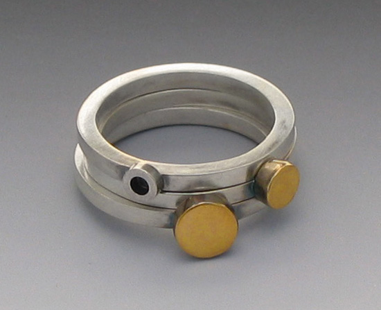 """Stacking Rings with Gold Dot"""