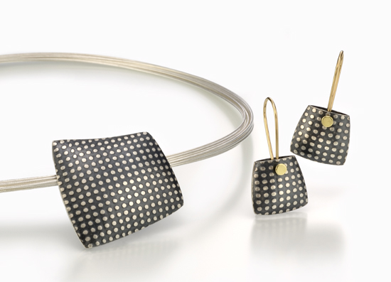 """Dotted Pillow Pendant and Earrings"""