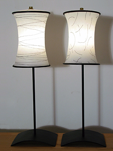Tall Table Lamp - Glass & Metal Lamp - by David Leppla and Melanie Guernsey-Leppla